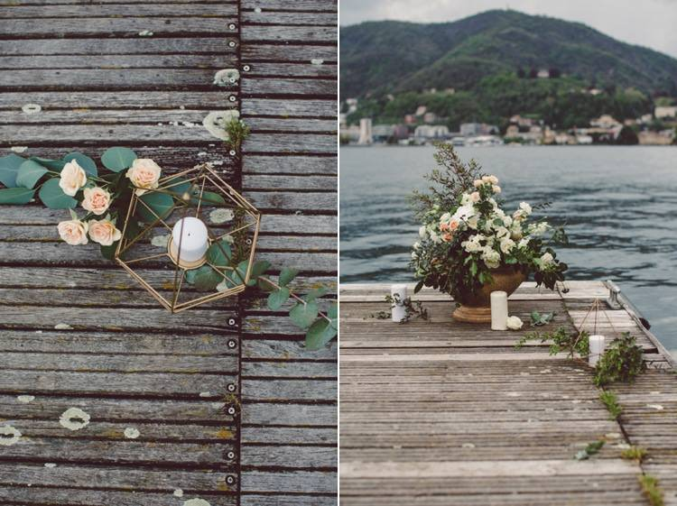 Outdoor Ceremony Idea Pier Lake Flowers Cream Blush Roses Greenery Gold Prism Candle Holder Breathtaking Lake Como Wedding Ideas http://lillyred.it/