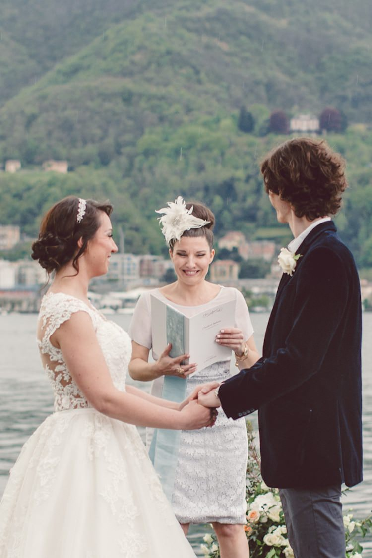Outdoor Ceremony Idea Pier Lake Bride Groom Officiant Flowers Candles Mountain Views Breathtaking Lake Como Wedding Ideas http://lillyred.it/
