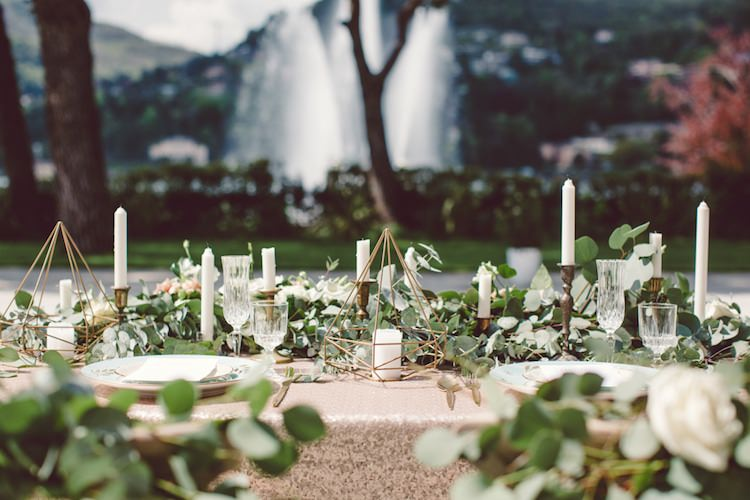 Table Setting Champagne Sequin Tablecloth Gold Prism Candle Holder Candlesticks Cream Blush Roses Greenery Water Fountain Trees Breathtaking Lake Como Wedding Ideas http://lillyred.it/