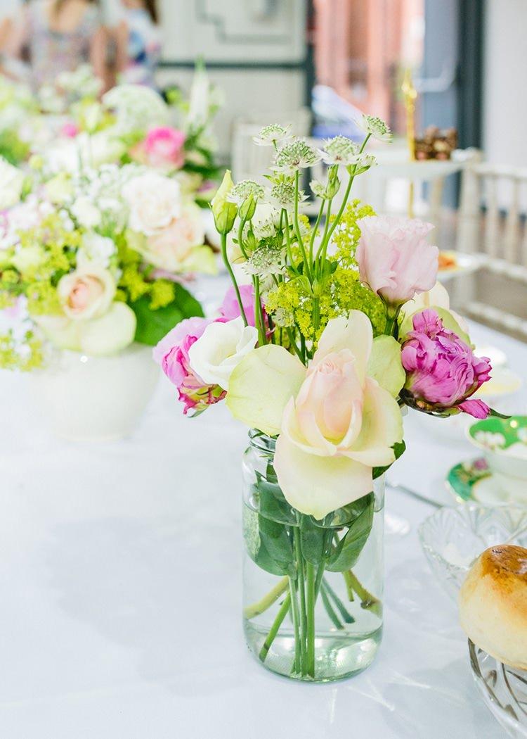 Jar Flowers Pink Roses Sweet Pastel Afternoon Tea Wedding http://slepokur.photoshelter.com/
