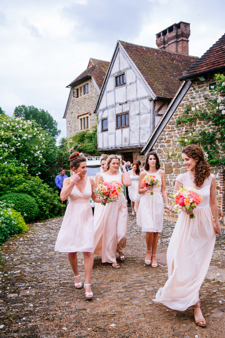 Mismatched Pink Bridesmaid Dresses Peaches Mint Stylish Floral Wedding http://www.sarahleggephotography.co.uk/