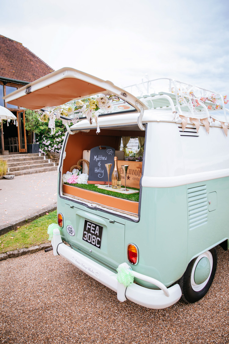 VW Camper Van Peaches Mint Stylish Floral Wedding http://www.sarahleggephotography.co.uk/