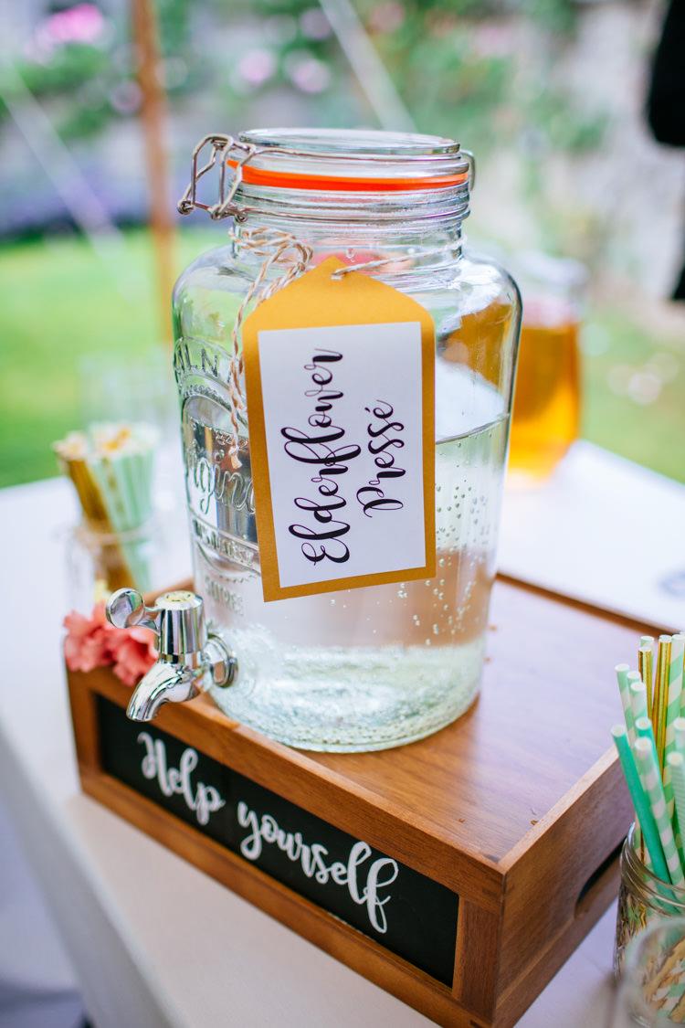 Drink Dispenser Elderflower Peaches Mint Stylish Floral Wedding http://www.sarahleggephotography.co.uk/