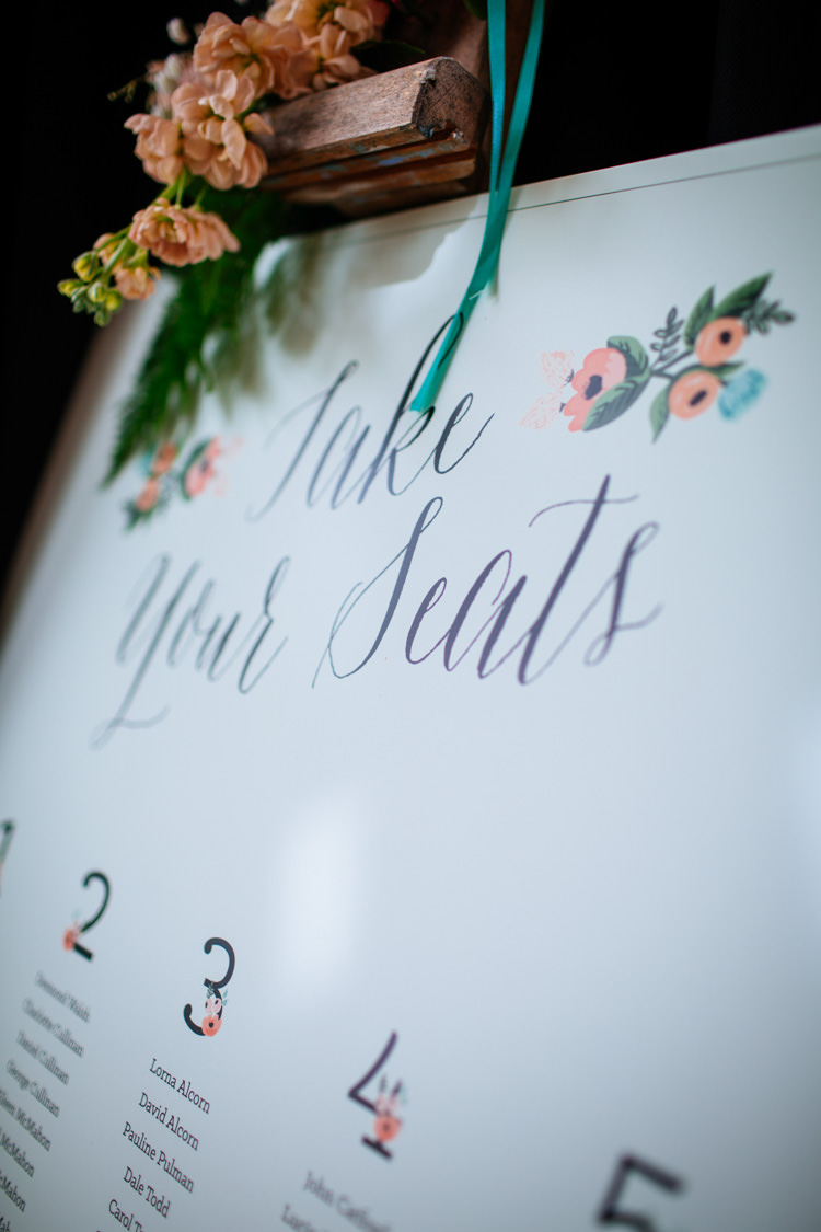 Seating Plan Table Chart Floral Flower Peaches Mint Stylish Floral Wedding http://www.sarahleggephotography.co.uk/