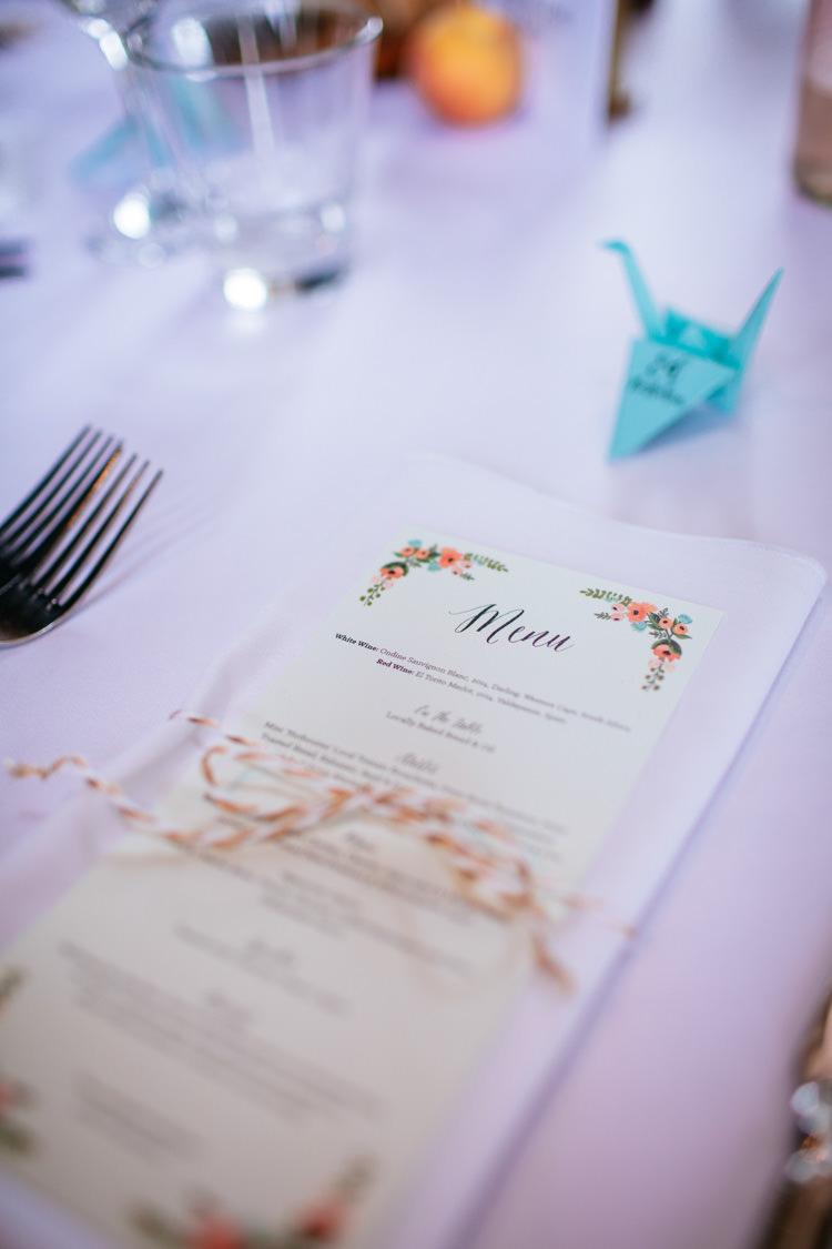 Menu Stationery Peaches Mint Stylish Floral Wedding http://www.sarahleggephotography.co.uk/