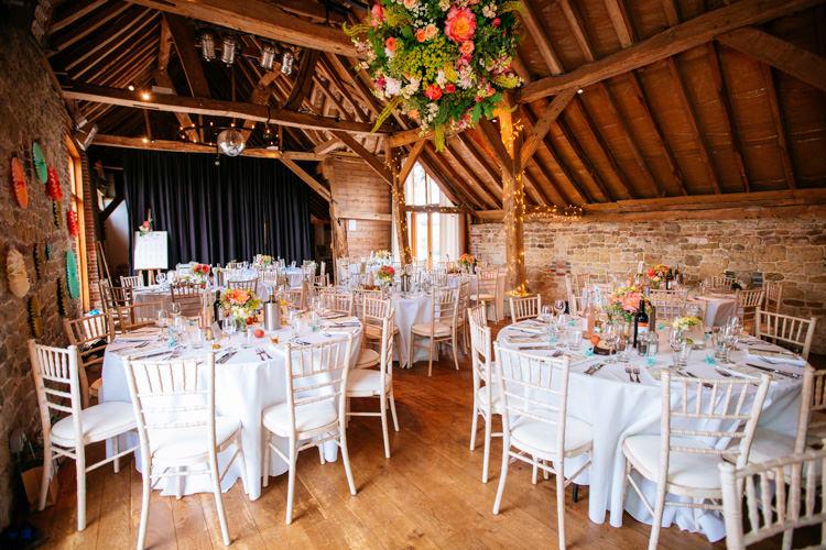 Barn Peaches Mint Stylish Floral Wedding http://www.sarahleggephotography.co.uk/
