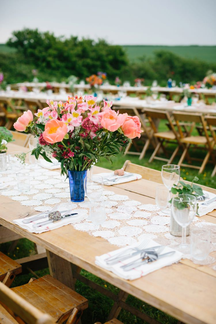 Coral Peony Flowers Long Tables Doilies Decor Beautiful Outdoor Country House Wedding http://www.christinewehrmeier.com/