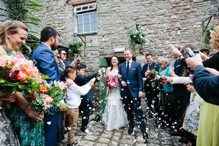 Confetti Throw Bride Groom Beautiful Outdoor Country House Wedding http://www.christinewehrmeier.com/