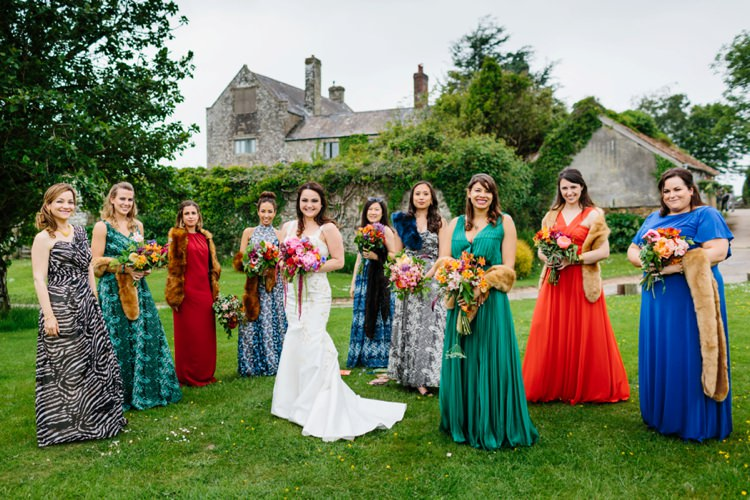 Mismatched Bridesmaids Colourful Fur Stole Beautiful Outdoor Country House Wedding http://www.christinewehrmeier.com/