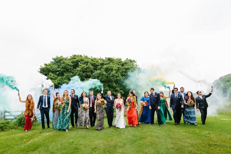 Smoke Bomb Groom Bride Bridesmaids Groomsmen Guests Beautiful Outdoor Country House Wedding http://www.christinewehrmeier.com/