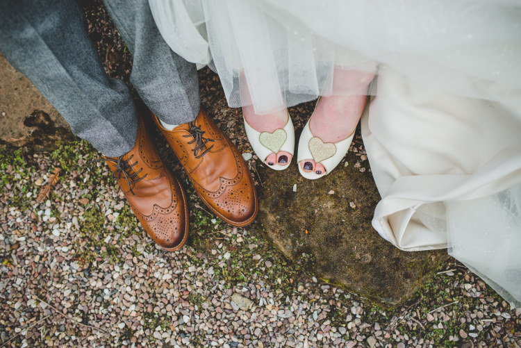 Charlotte Mills Shoes Bride Bridal Gold Sequin Outdoor Humanist Wedding http://www.emmahillierphotography.com/