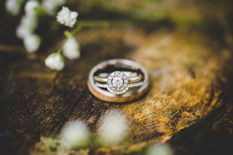 Rings Bands Engagement Bride Groom Halo Diamond Gold Sequin Outdoor Humanist Wedding http://www.emmahillierphotography.com/
