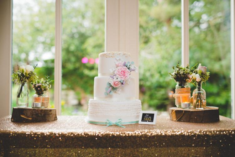 Ruffle Cake Flower Floral Gold Sequin Outdoor Humanist Wedding http://www.emmahillierphotography.com/