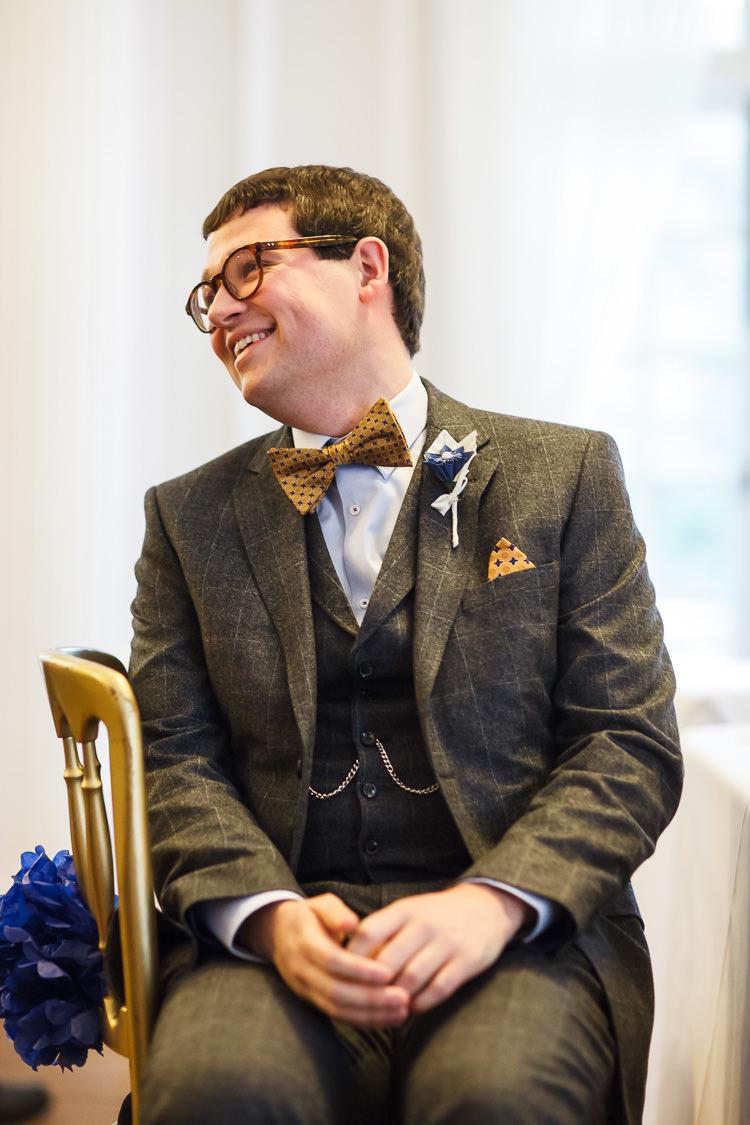 Check Suit Bow Tie Mustard Groom Vintage Doctor Who Wedding http://www.linaandtom.com/