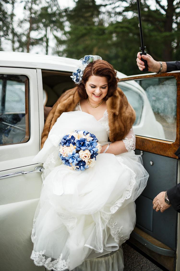 Bride Bridal Dress Gown Fur Shrug Justin Alexander Lace Vintage Doctor Who Wedding http://www.linaandtom.com/