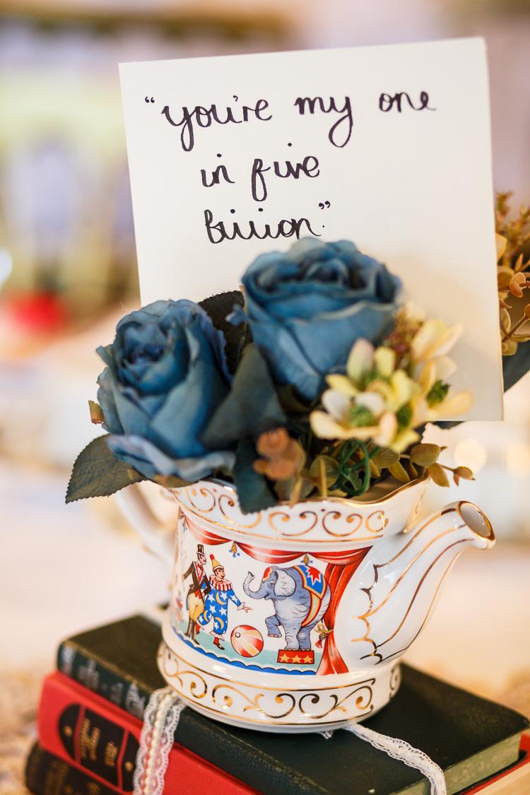 Tea Pot Silk Flowers Decor Vintage Doctor Who Wedding http://www.linaandtom.com/