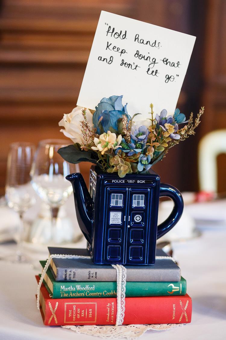 Tea Pot Flowers Tardis Books Centrepiece Vintage Doctor Who Wedding http://www.linaandtom.com/