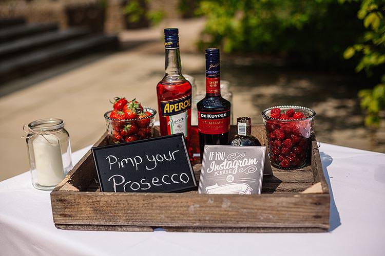 Pimp Your Prosecco Bar Station Drinks Delightful Secret Garden Wedding http://www.pauljosephphotography.co.uk/