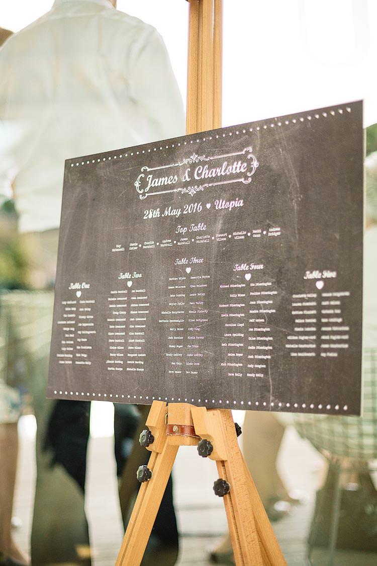 Seating Plan Chalk Black Board Table Chart Delightful Secret Garden Wedding http://www.pauljosephphotography.co.uk/