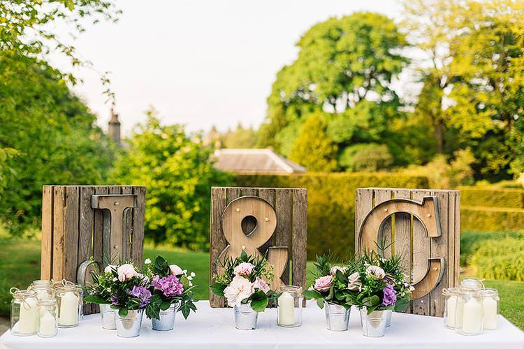 Wooden Letter Lights Pot Plants Decor Delightful Secret Garden Wedding http://www.pauljosephphotography.co.uk/