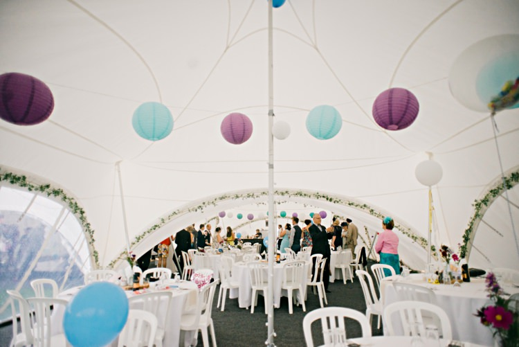 Purple Blue Lanterns Beautiful Bicycle Country Marquee Wedding http://www.emmabphotography.com/