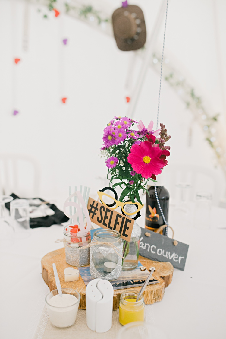 Centrepiece Flowers Jar Log Props Candle Beautiful Bicycle Country Marquee Wedding http://www.emmabphotography.com/