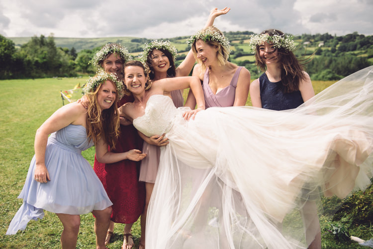 Mismatched Bridesmaids Outdoor Countryside Fair Wedding http://www.jennawoodward.com/