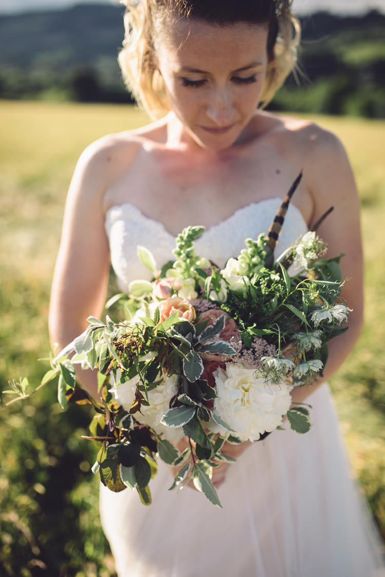 Bouquet Flowers Large Feather Bride Bridal Peony Rose Greenery Whimsical Outdoor Countryside Fair Wedding http://www.jennawoodward.com/