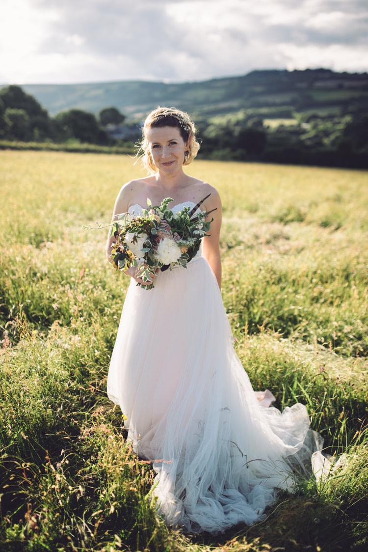 Blush Pink Tulle Strapless Dress Gown Bride Bridal Outdoor Countryside Fair Wedding http://www.jennawoodward.com/