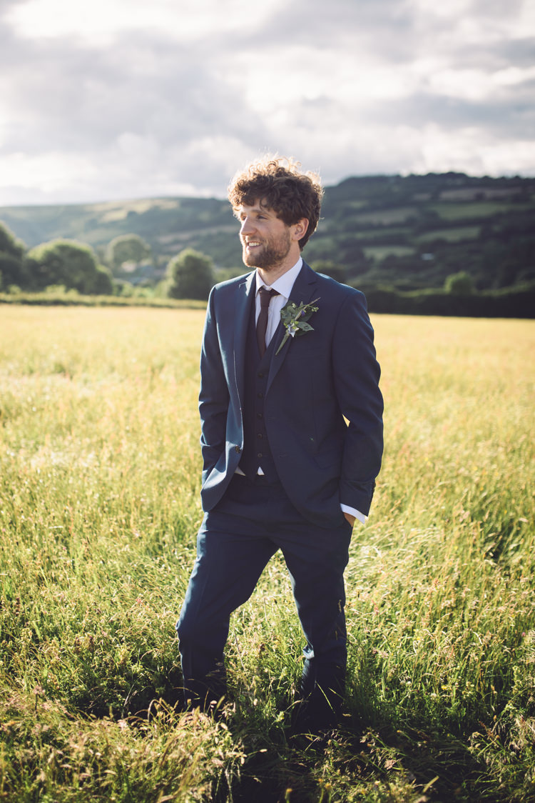 Navy Suit Red Tie Groom Outdoor Countryside Fair Wedding http://www.jennawoodward.com/