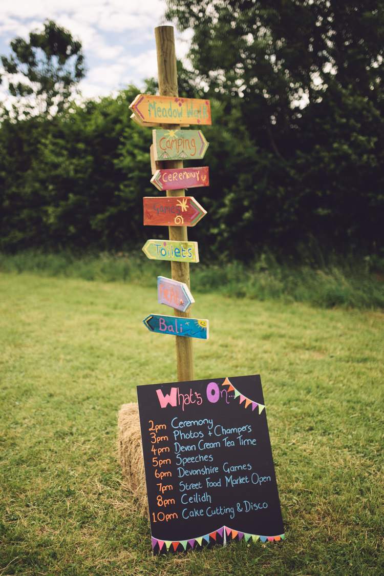Wooden Signpost Painted Outdoor Countryside Fair Wedding http://www.jennawoodward.com/