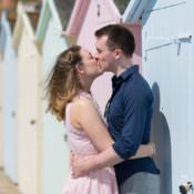 The Bride Diaries. Louise's Candy Coloured Beach Hut Engagement Shoot