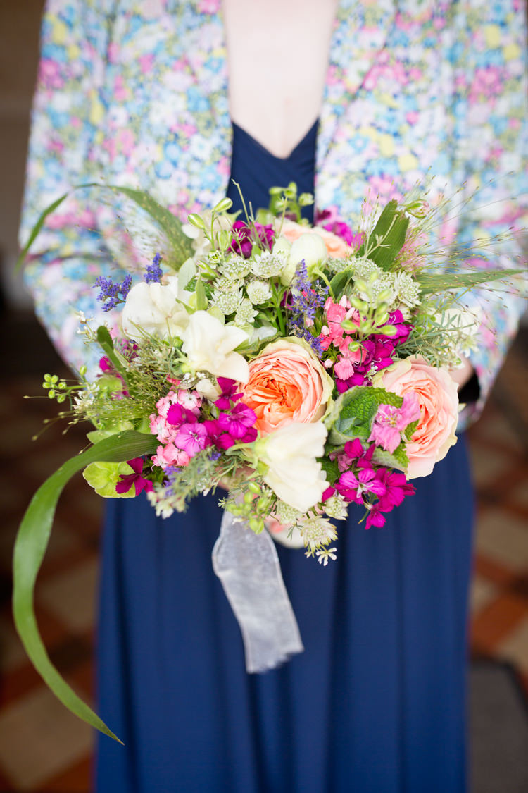 Bouquet Flowers Bridesmaid Coral Pink Natural Wild Spring DIY Steam Railway Village Hall Wedding http://www.charlotterazzellphotography.com/