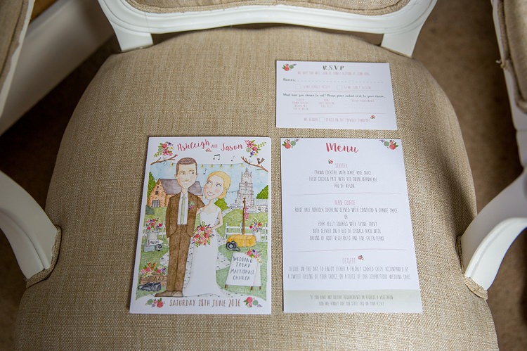 Illustrated Custom Stationery Bride Groom Invitaition Pretty Relaxed Countryside Wedding http://katherineashdown.co.uk/
