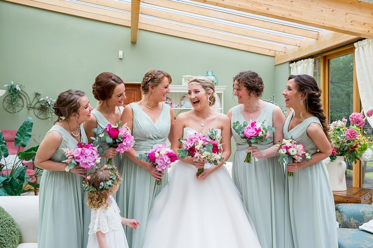 Sage Green Long Bridesmaid Dresses Pink Flowers Pretty Relaxed Countryside Wedding http://katherineashdown.co.uk/