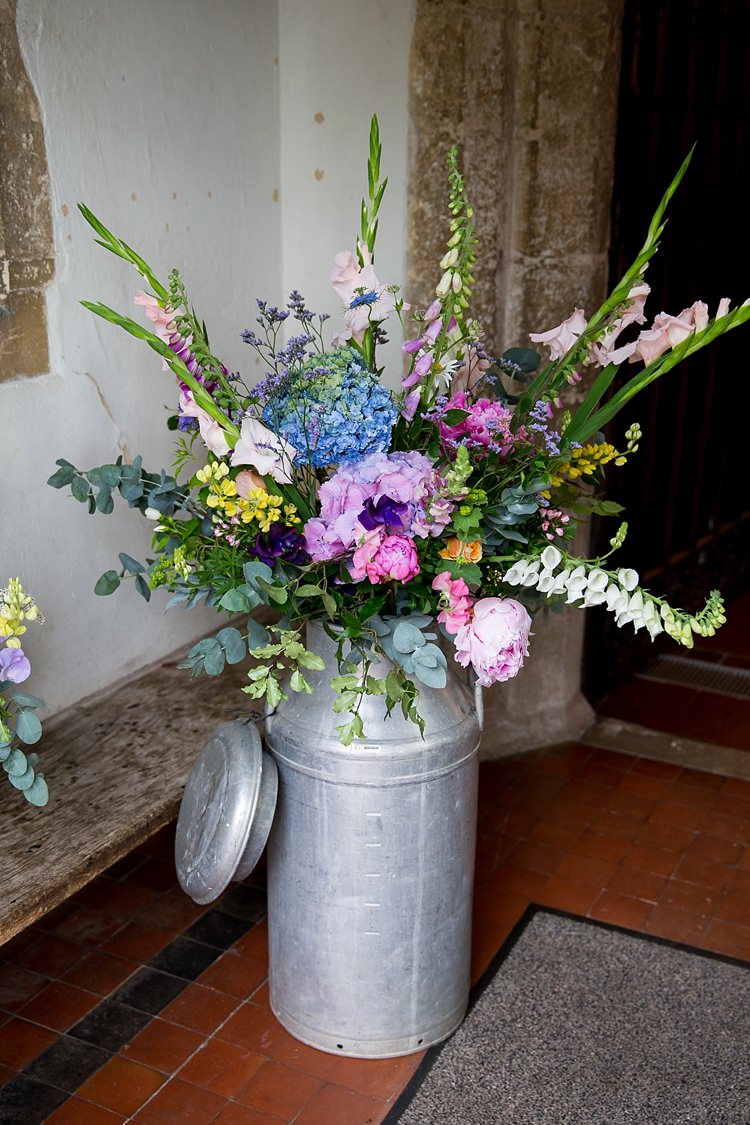 Church Flowers Urn Jug Pretty Relaxed Countryside Wedding http://katherineashdown.co.uk/