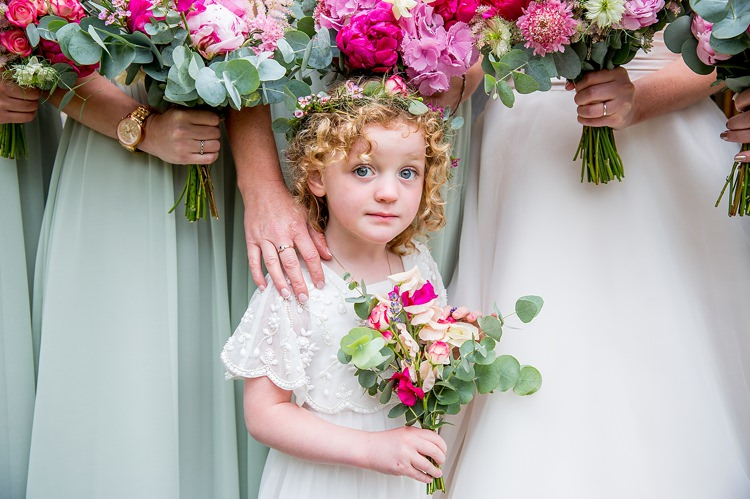 Flower Girl Pink Bouquet Crown Halo Pretty Relaxed Countryside Wedding http://katherineashdown.co.uk/