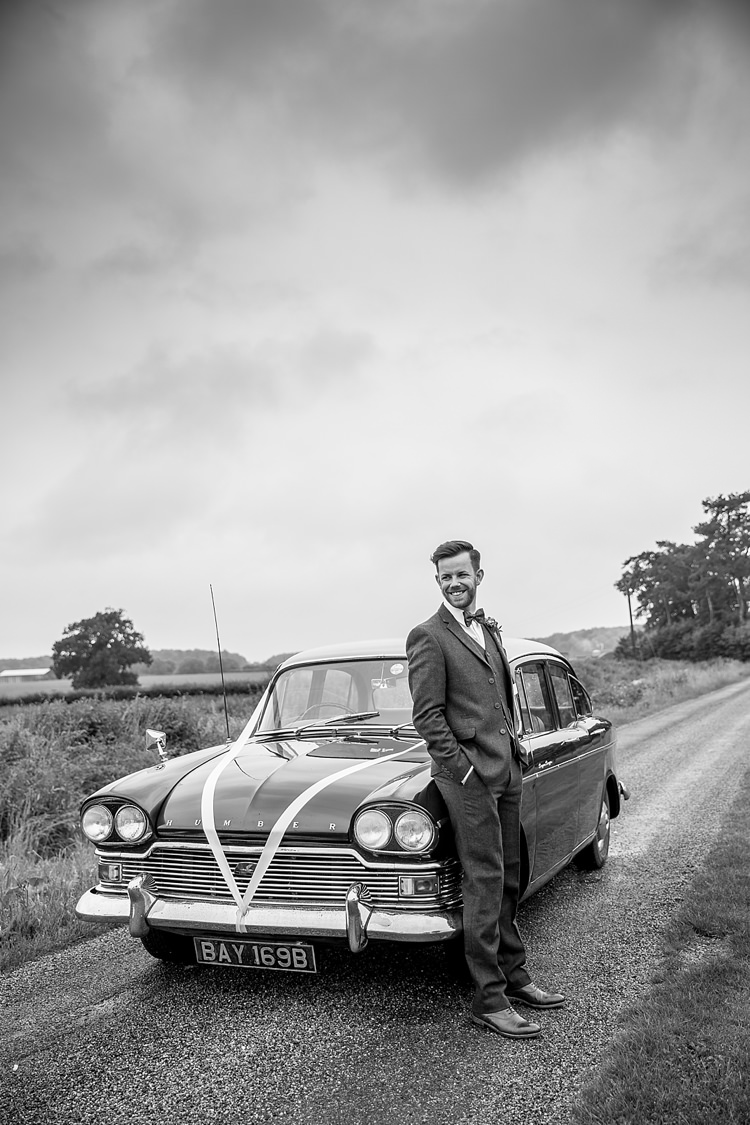Classic Car Transport Groom Bow Tie Pretty Relaxed Countryside Wedding http://katherineashdown.co.uk/