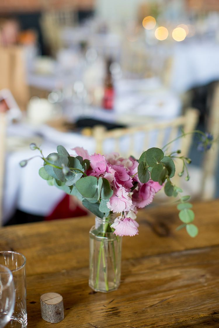 Table Flowers Pink Decor Bottle Pretty Relaxed Countryside Wedding http://katherineashdown.co.uk/