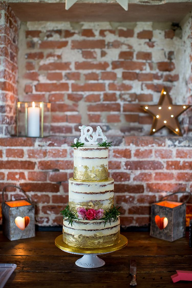 Cake Layer Sponge Naked Gold Metallic Flowers Pretty Relaxed Countryside Wedding http://katherineashdown.co.uk/