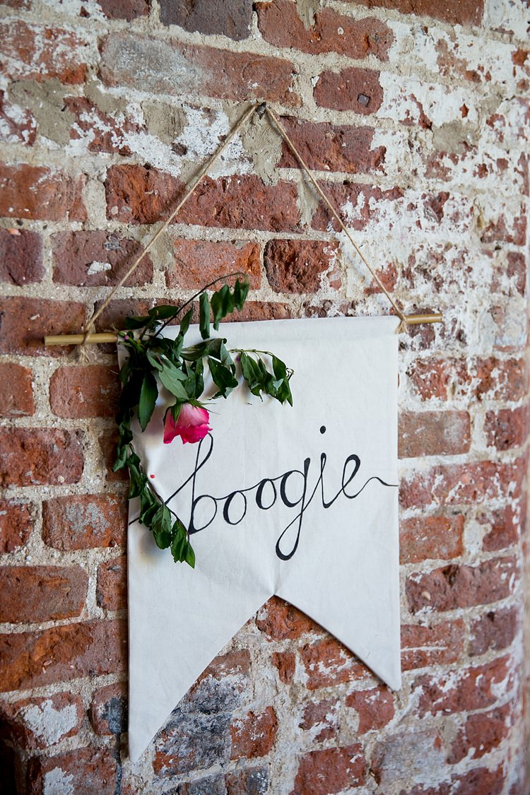 Boogie Sign Hanging Banner Flowers Decor Pretty Relaxed Countryside Wedding http://katherineashdown.co.uk/