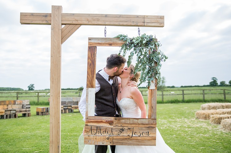 DIY Wooden Frame Photo Booth Bride Groom Pretty Relaxed Countryside Wedding http://katherineashdown.co.uk/
