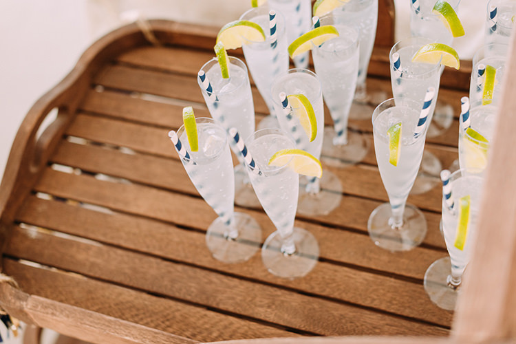 Cocktails Lime Striped Straws Wooden Tray Breathtaking Intimate Mykonos Destination Wedding http://www.annapumerphotography.com/