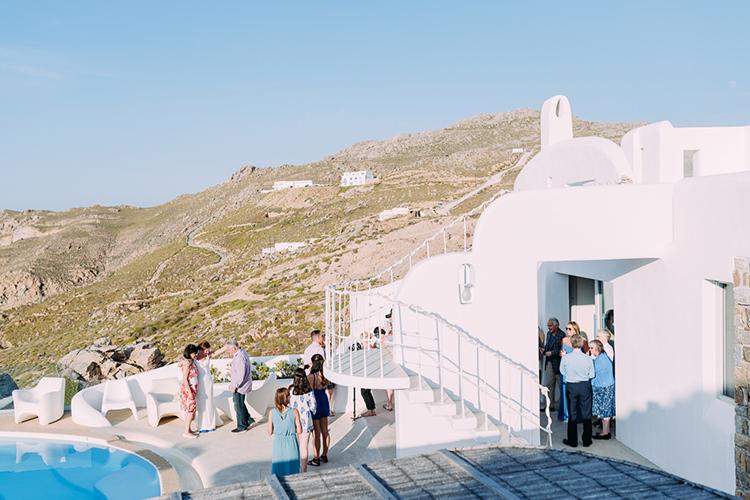 Wedding Guests Hillside Pool Breathtaking Intimate Mykonos Destination Wedding http://www.annapumerphotography.com/