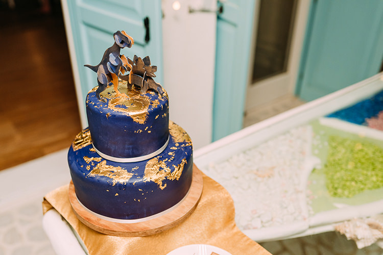 Wedding Cake Navy Gold Dinosaur Cake Topper Wooden Stand Breathtaking Intimate Mykonos Destination Wedding http://www.annapumerphotography.com/