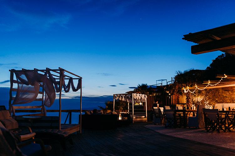 Reception Venue Zinas Villas Sunset Fairy Lights Breathtaking Intimate Mykonos Destination Wedding http://www.annapumerphotography.com/