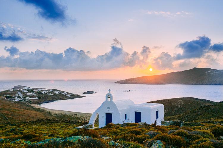 Sunset Island Church Ocean Breathtaking Intimate Mykonos Destination Wedding http://www.annapumerphotography.com/