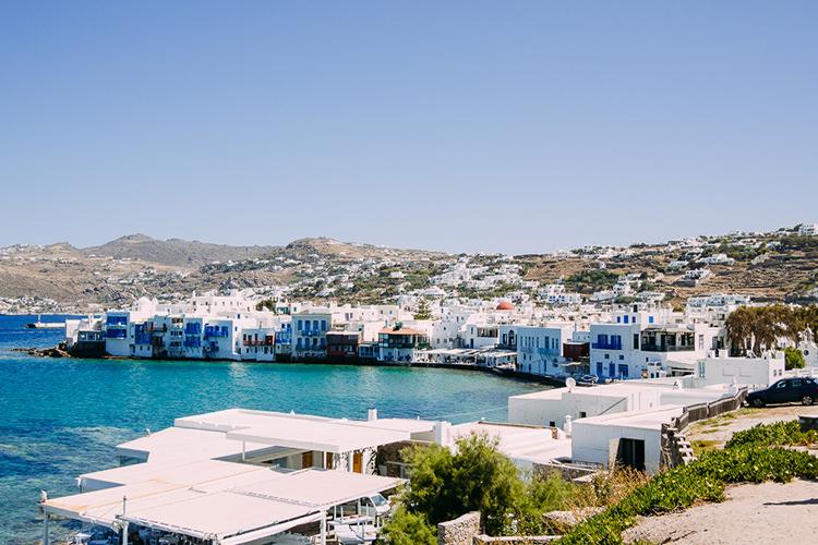 Blue Ocean White Buildings Breathtaking Intimate Mykonos Destination Wedding http://www.annapumerphotography.com/