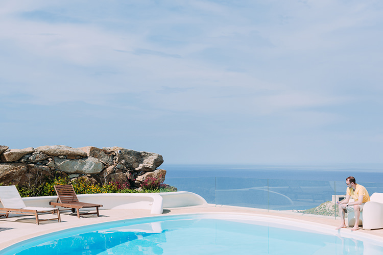 Island Poolside Ocean View Breathtaking Intimate Mykonos Destination Wedding http://www.annapumerphotography.com/