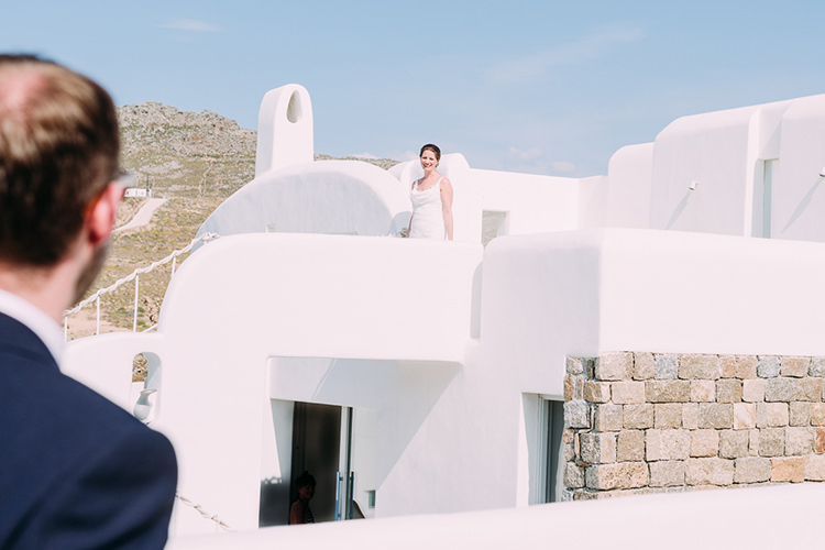 Bride Groom First Look Breathtaking Intimate Mykonos Destination Wedding http://www.annapumerphotography.com/
